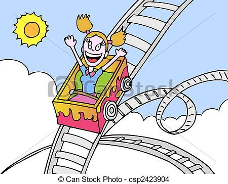 EPS Vector of roller coaster girl hand drawn cartoon image style.