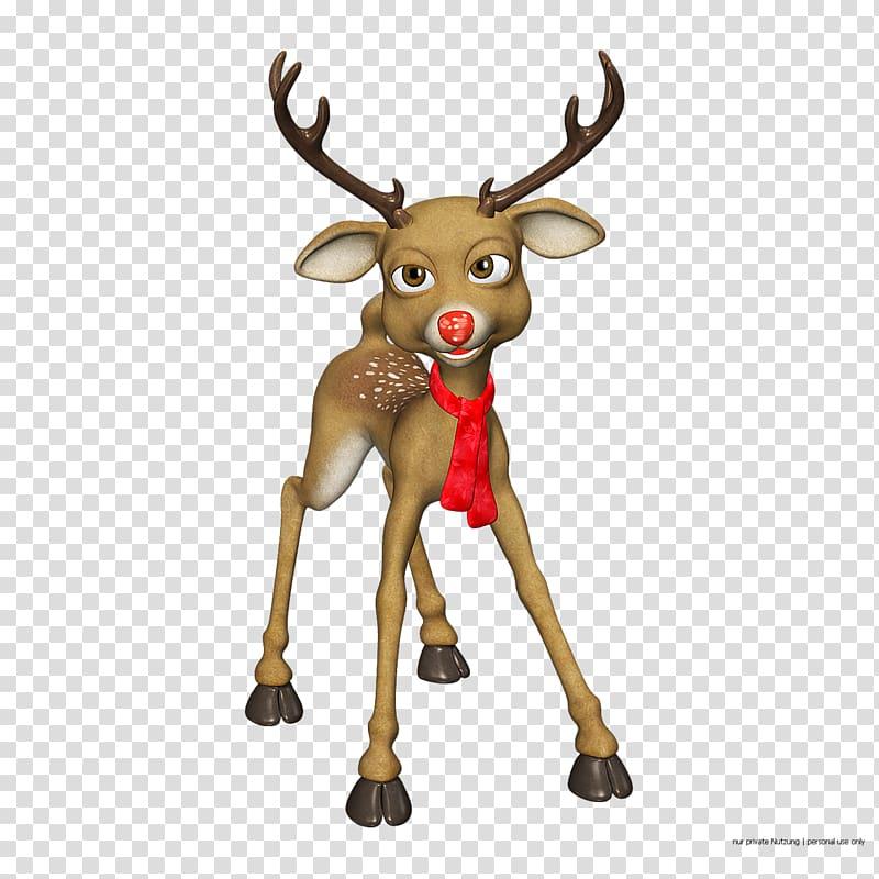 Rudolph Reindeer Santa Claus Christmas, Cartoon Reindeer transparent.