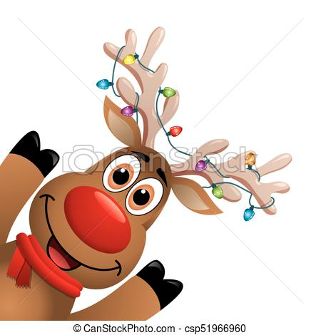 vector xmas drawing of funny red nosed reindeer.