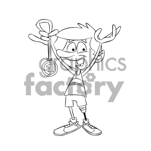 black and white cartoon runner with a prosthetic leg clipart. Royalty.