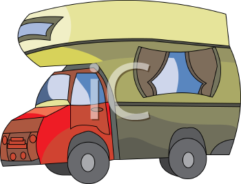 Royalty Free Clipart Image: Cartoon Over Cab Camper Truck.