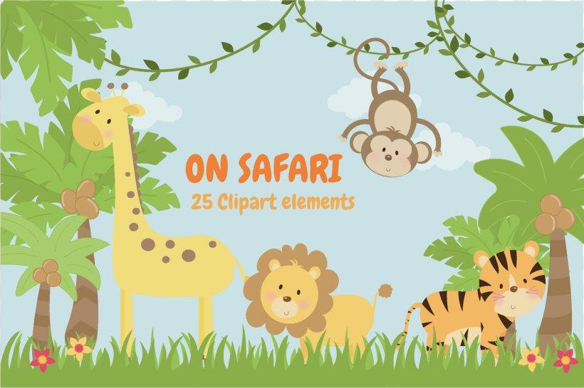 Baby Jungle Animals Safari Patterns Clip Art, PNG.