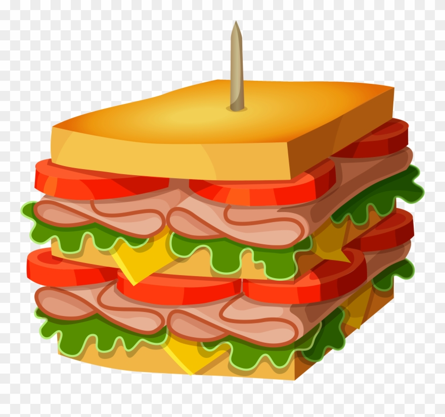 Huge Sandwich Png Vector Clipart Picture.