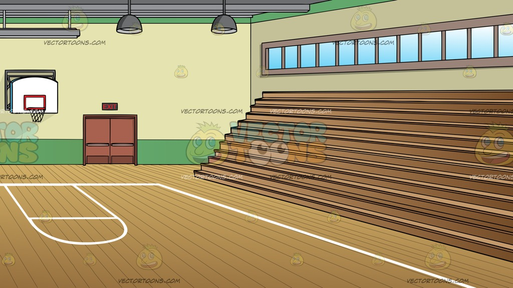 A School Gymnasium With Basketball Court And Bleachers Background.
