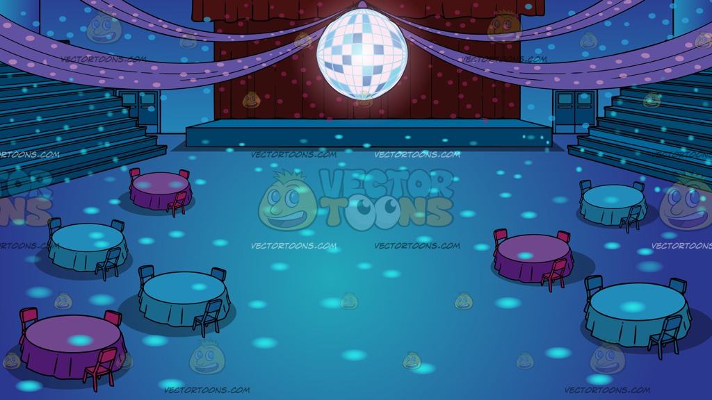 A School Gym Set Up For Prom Background Cartoon Clipart.