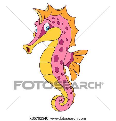 Cute cartoon seahorse Clipart.