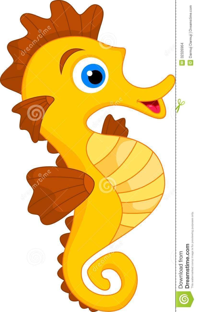 Cute Seahorse Cartoon.