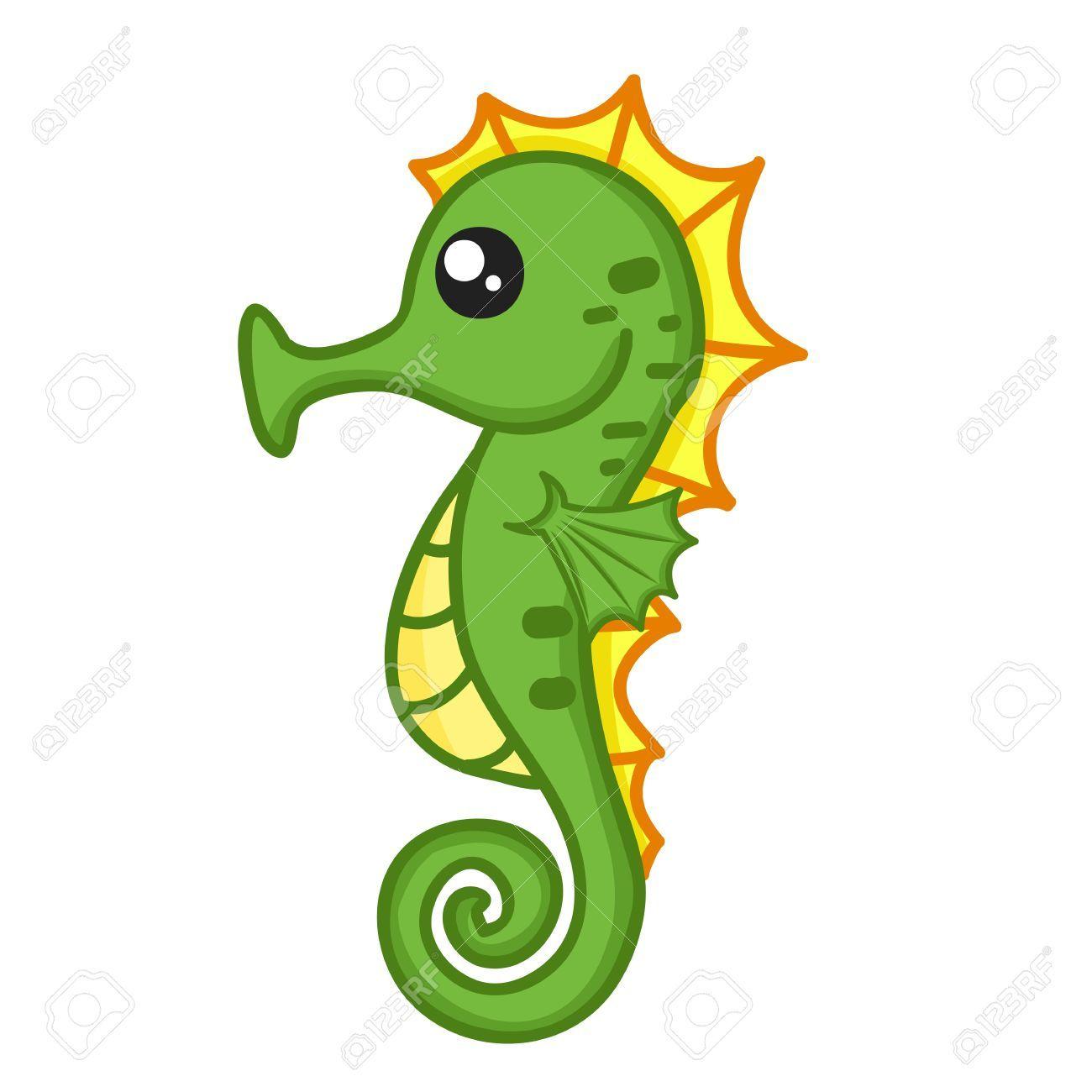 Cute Seahorse Clipart #1.