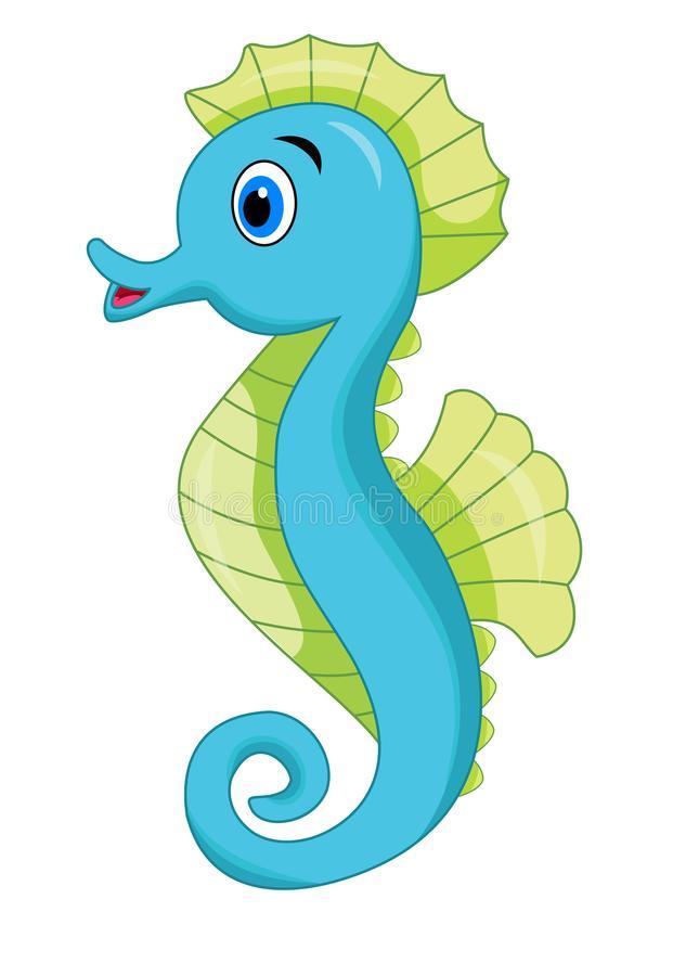 Cute Seahorse Cartoon Stock Illustrations.