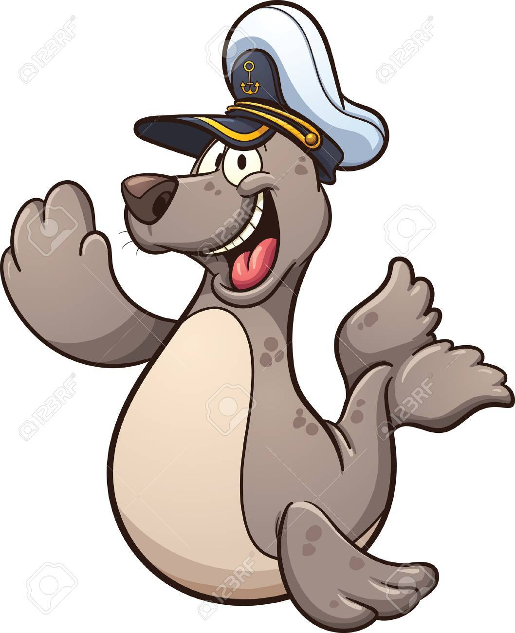 Happy cartoon seal wearing a captain hat. Vector clip art illustration...