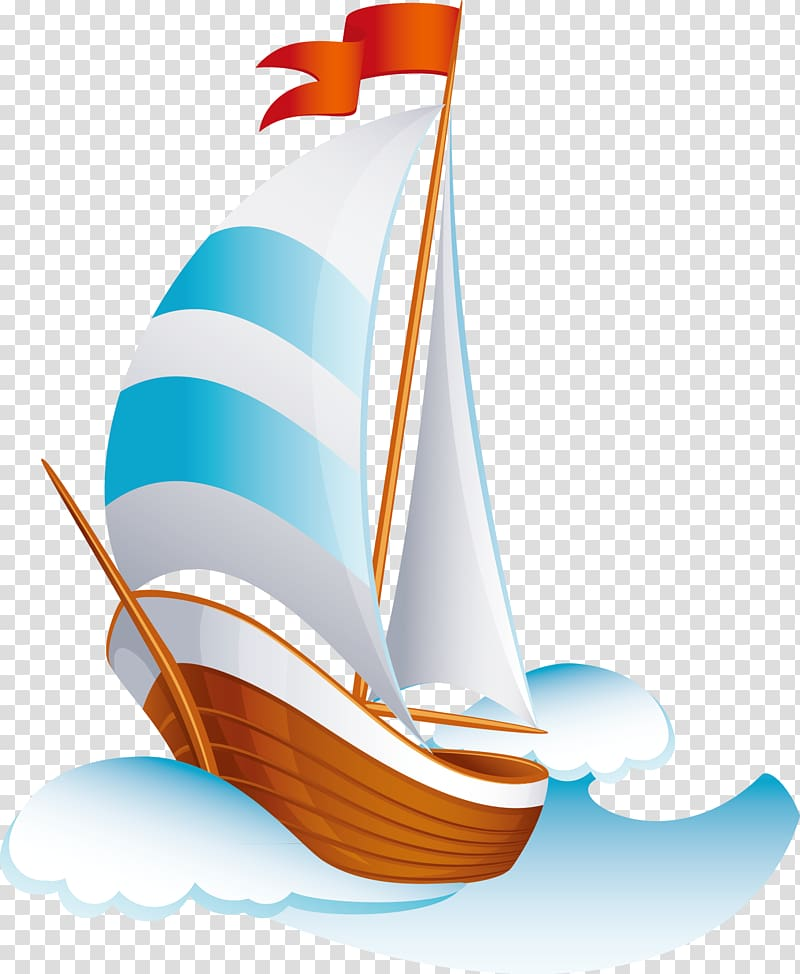 Cartoon Sailing ship, Cartoon ship transparent background PNG.