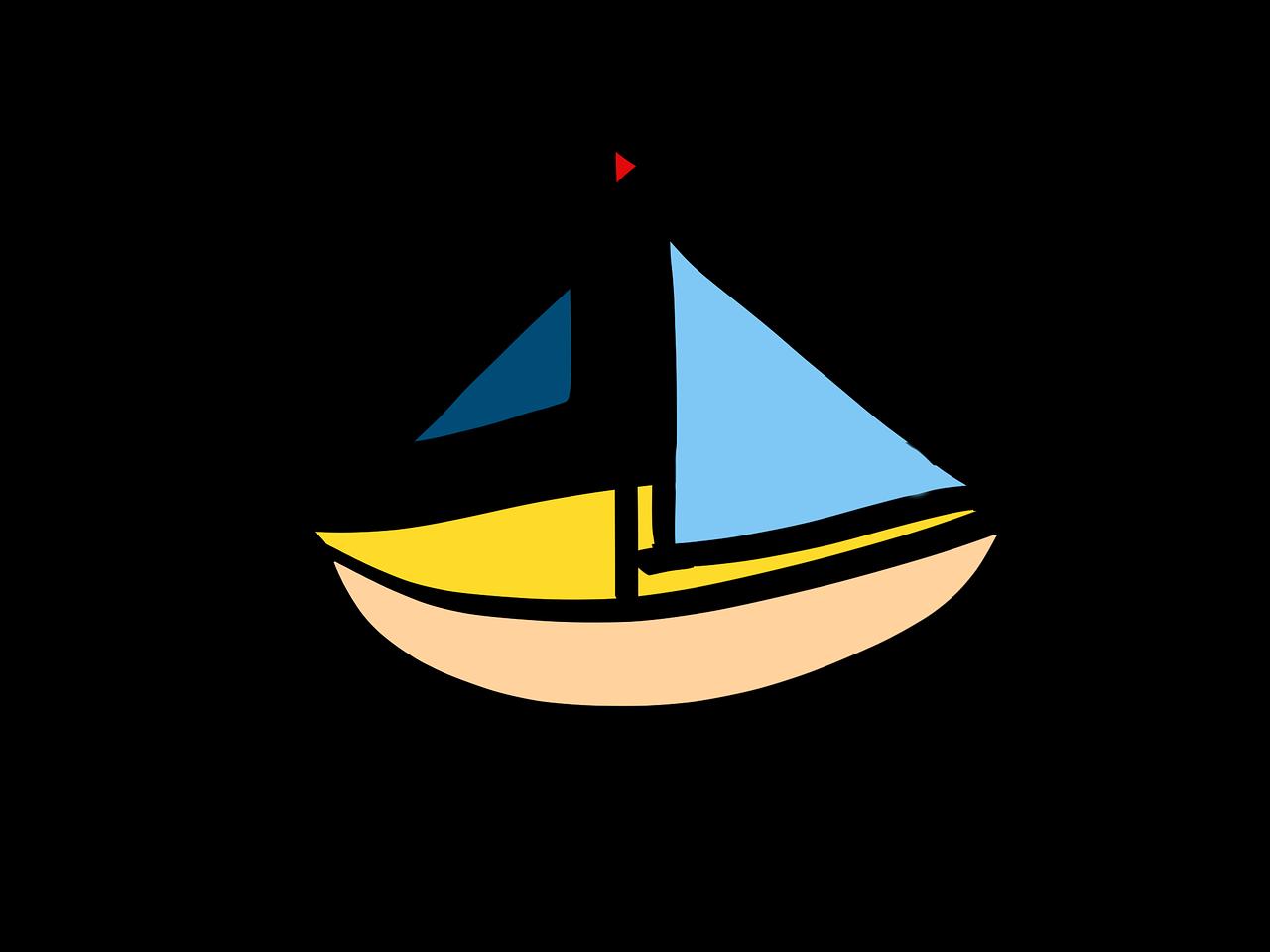 Sailing Boat Cartoon Ship Boot PNG.
