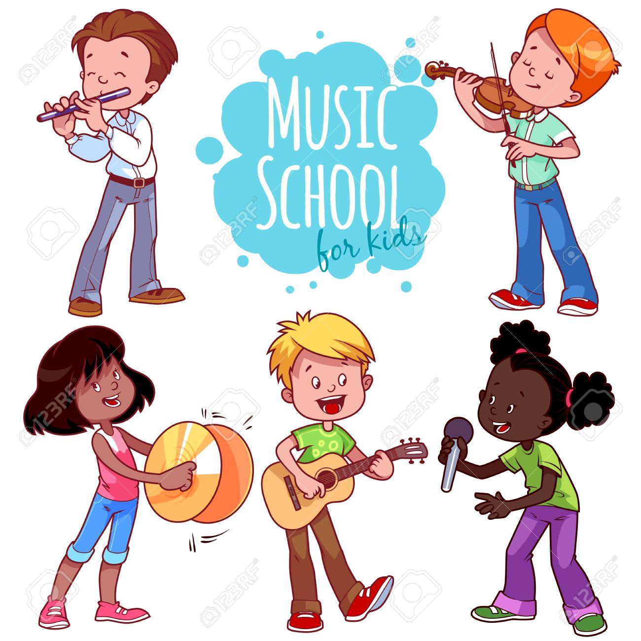 Cartoon kids playing musical instruments and singing. Vector...