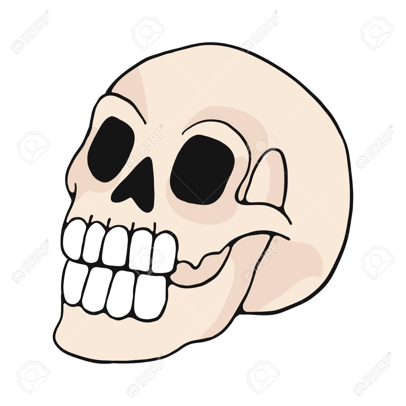 human skull cartoon vector illustration motif set. Hand drawn...
