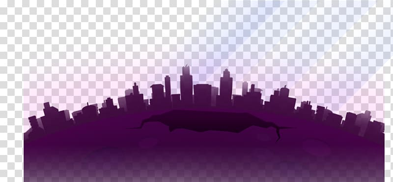 Skyline Silhouette Cartoon City, Cartoon city flat.