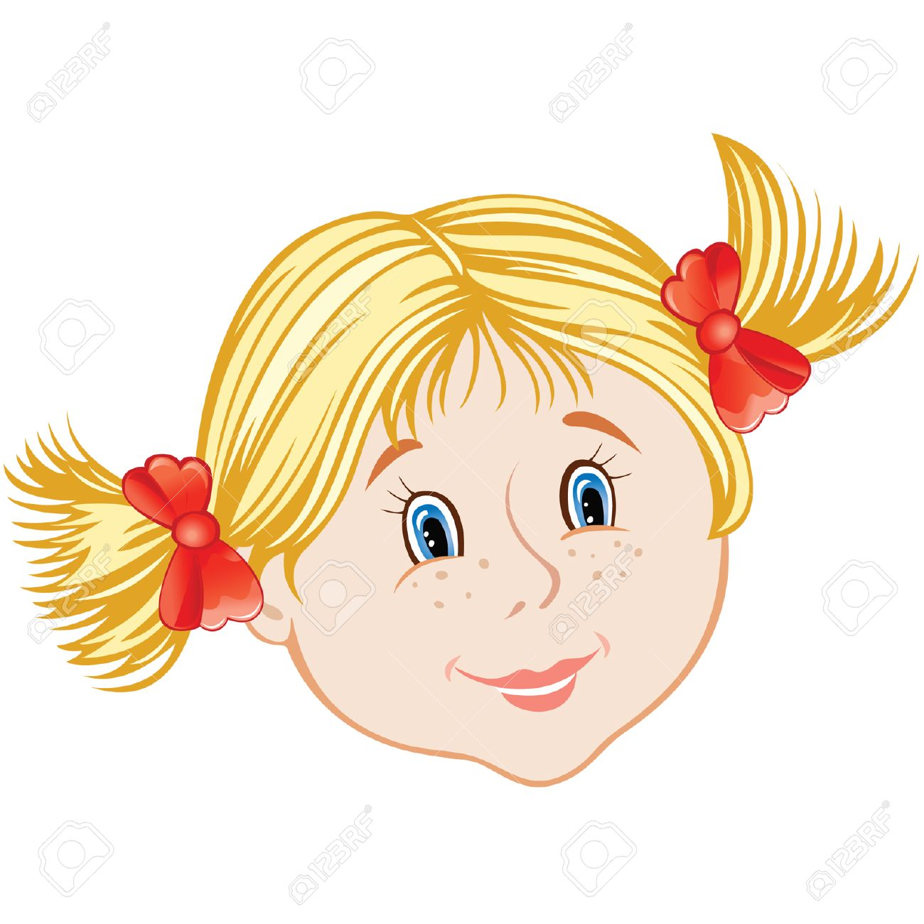 cartoon smiling face of little girl.