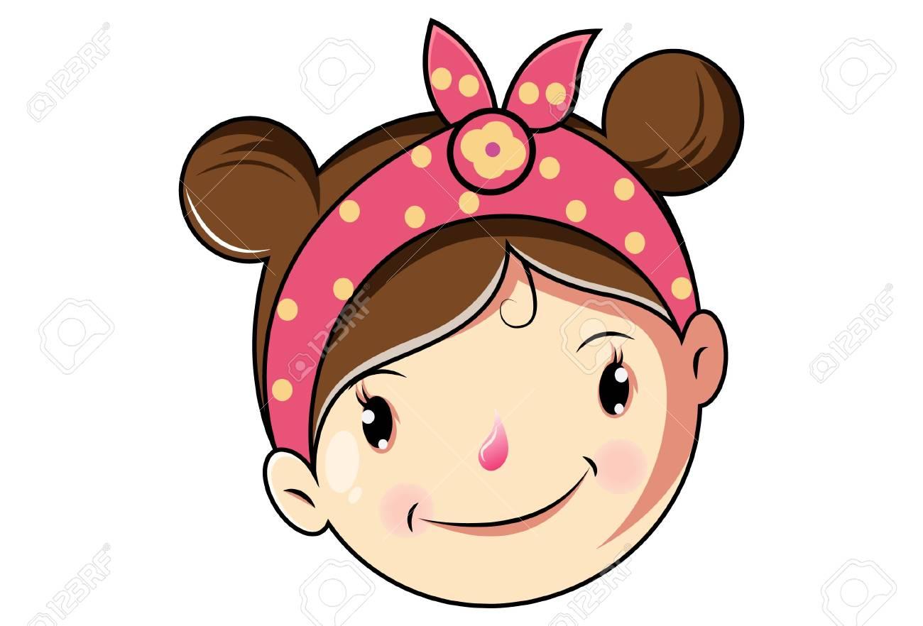Cartoon Cute Girl Happy Face .Vector Illustration..