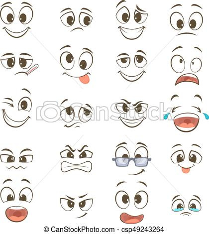Cartoon happy faces with different expressions. Vector illustrations.