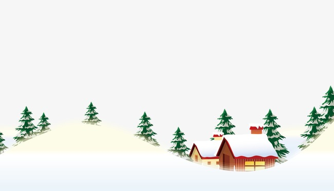 Download Free png Winter Scene, Snow, Christmas Tree, Cartoon House.