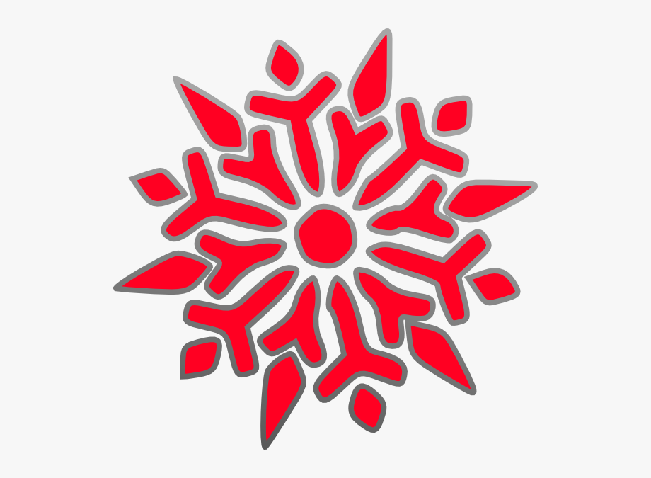 Red Snowflake Clipart Free.