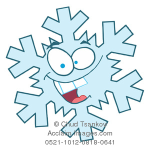 A Smiling Cartoon Snowflake Clipart Image.