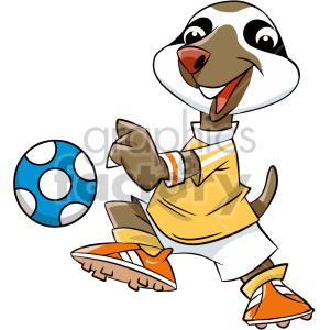 cartoon sloth soccer player clipart. Royalty.