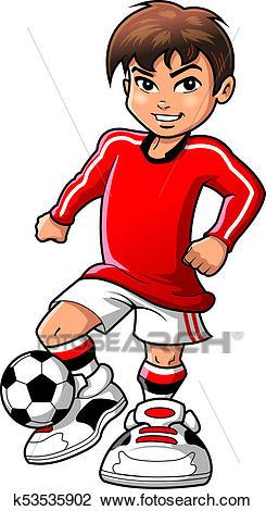 Soccer football player teen boy sports vector clipart cartoon Drawing.