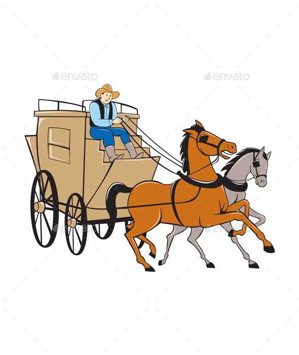 Stagecoach Driver Horse Cartoon.