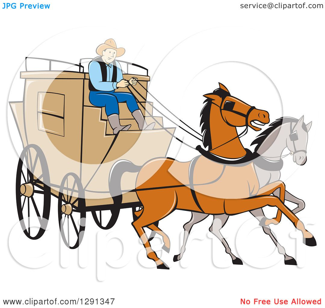 Clipart of a Cartoon Stagecoach Driver on a Carriage with Horses in.