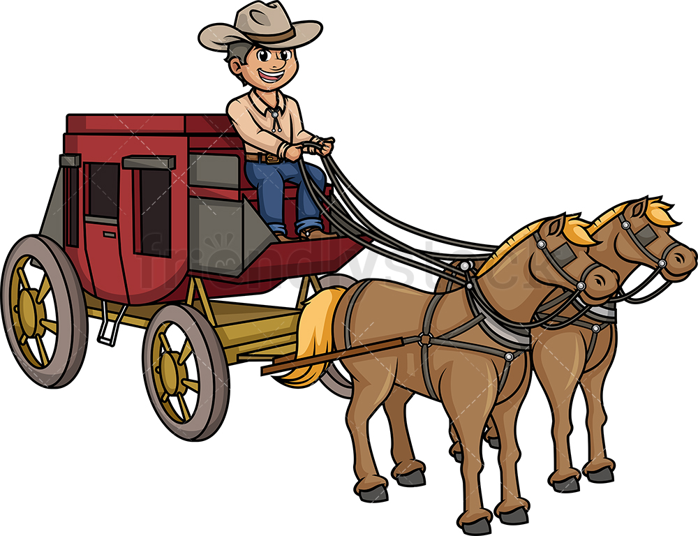 Man Riding Old West Stagecoach.
