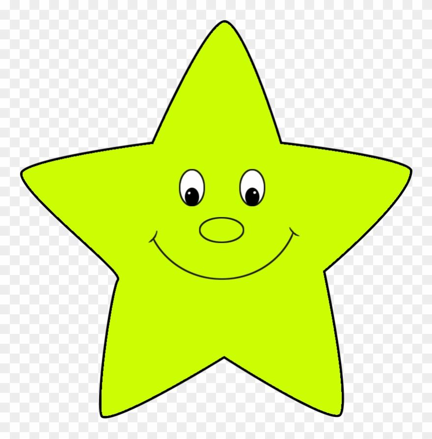 Neon Green Cartoon Star Cute.