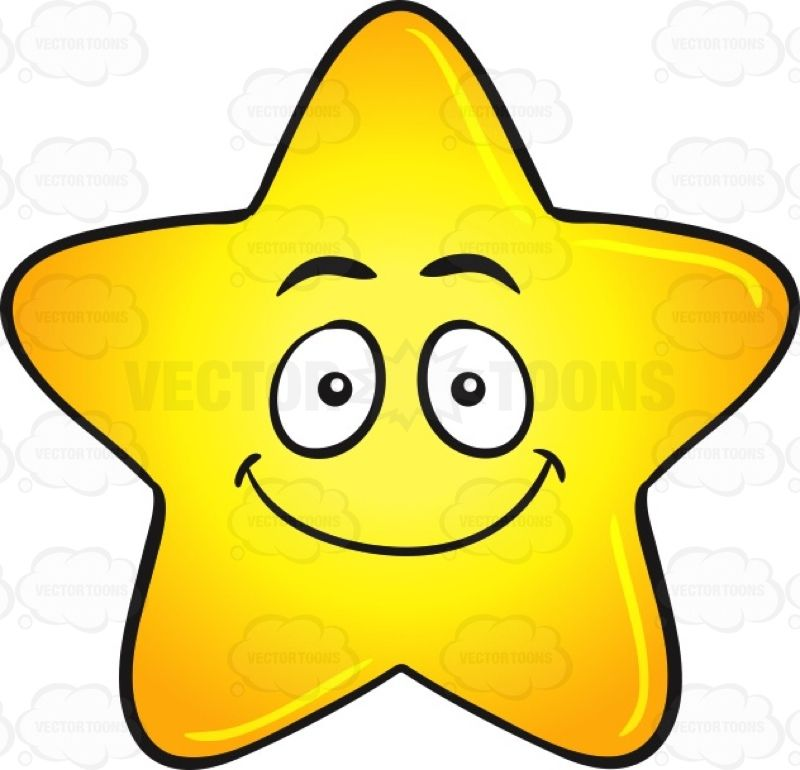 Single Gold Star Cartoon With Happy Face Emoji #big #blessed.