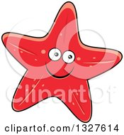 Clipart of a Happy Yellow Cartoon Starfish with Blue Eyes.