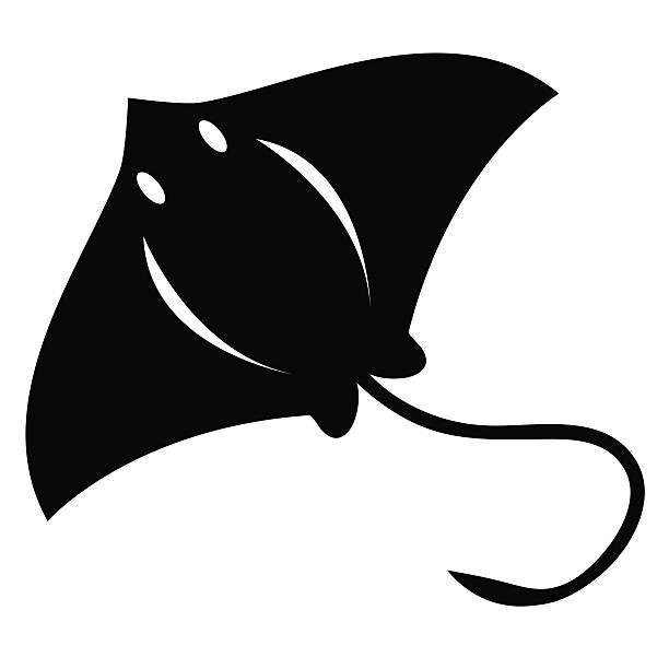 Vector Stylish Cartoon Stingray Isolated On White Background.