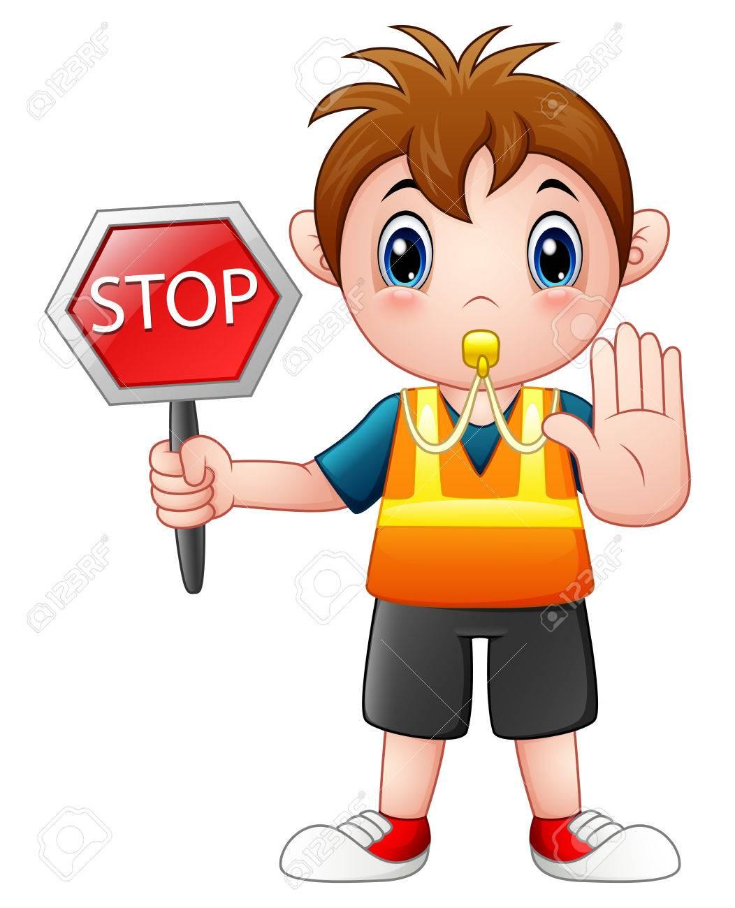 Cartoon boy holding a stop sign.
