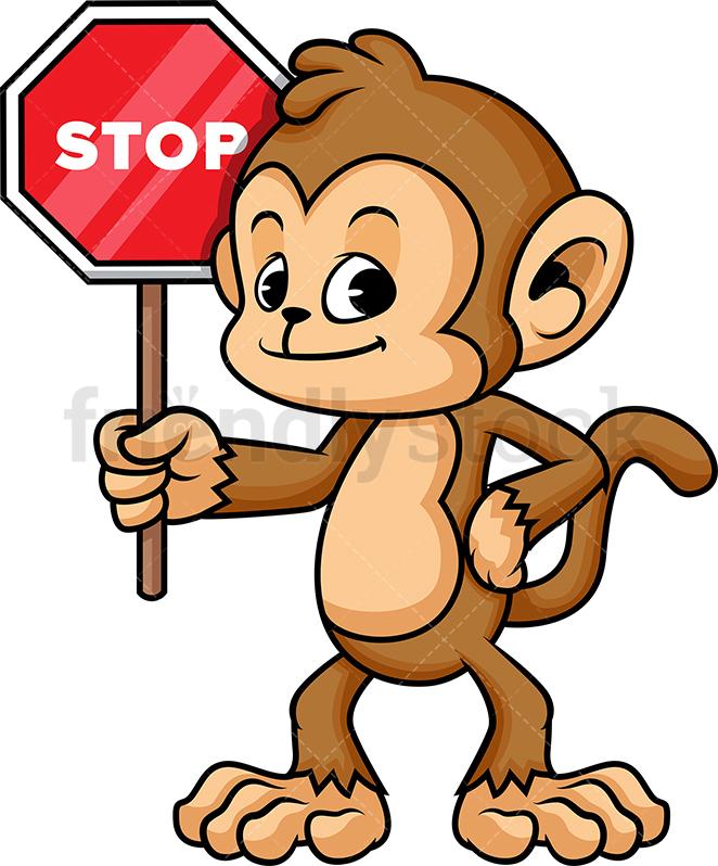 Monkey Holding Stop Sign.