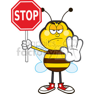 8379 Royalty Free RF Clipart Illustration Angry Bee Cartoon Mascot  Character Holding A Stop Sign Vector Illustration Isolated On White  clipart..