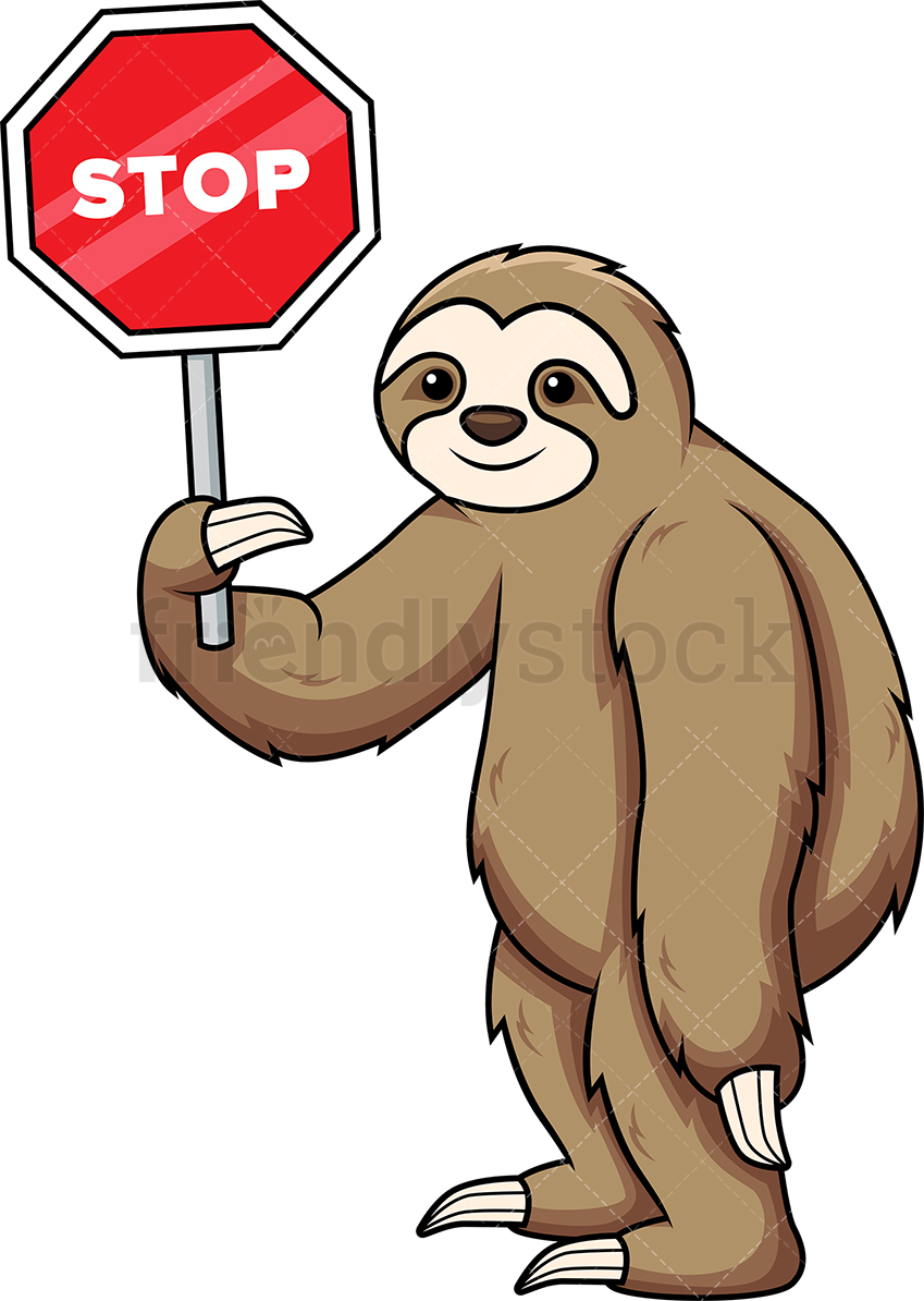 Sloth Holding Stop Sign.