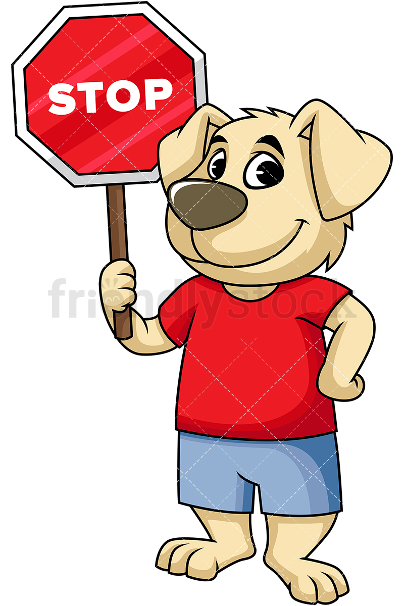 Dog Mascot Holding Stop Sign Cartoon Vector Clipart.