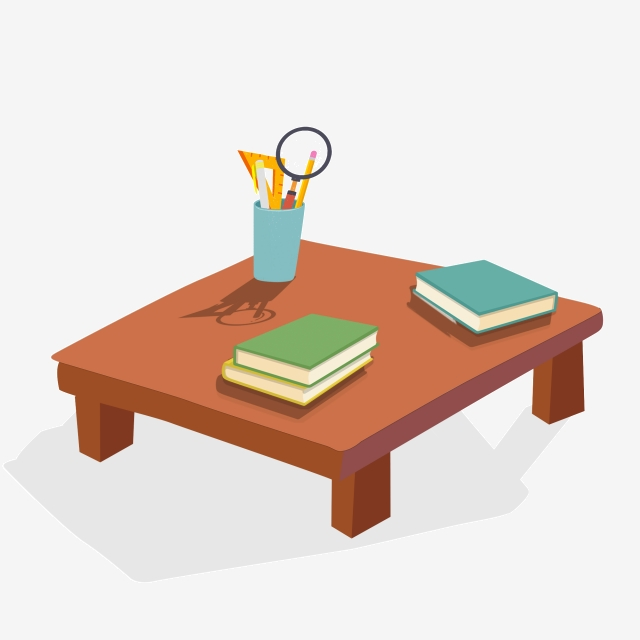 Pen Holder And Book On Cartoon Table, Cartoon, Illustration, Table.
