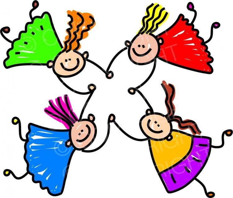 Happy Cartoon Team Girls Toddler Art Prawny Clip Art.