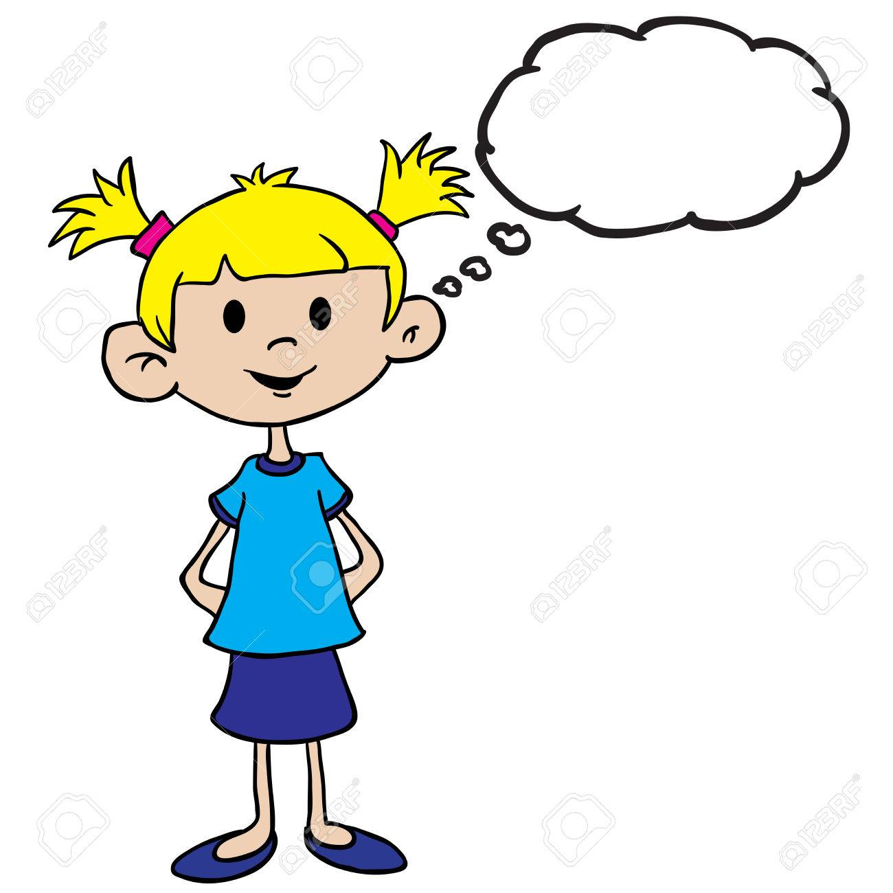 little girl in blue dress with thought bubble cartoon.