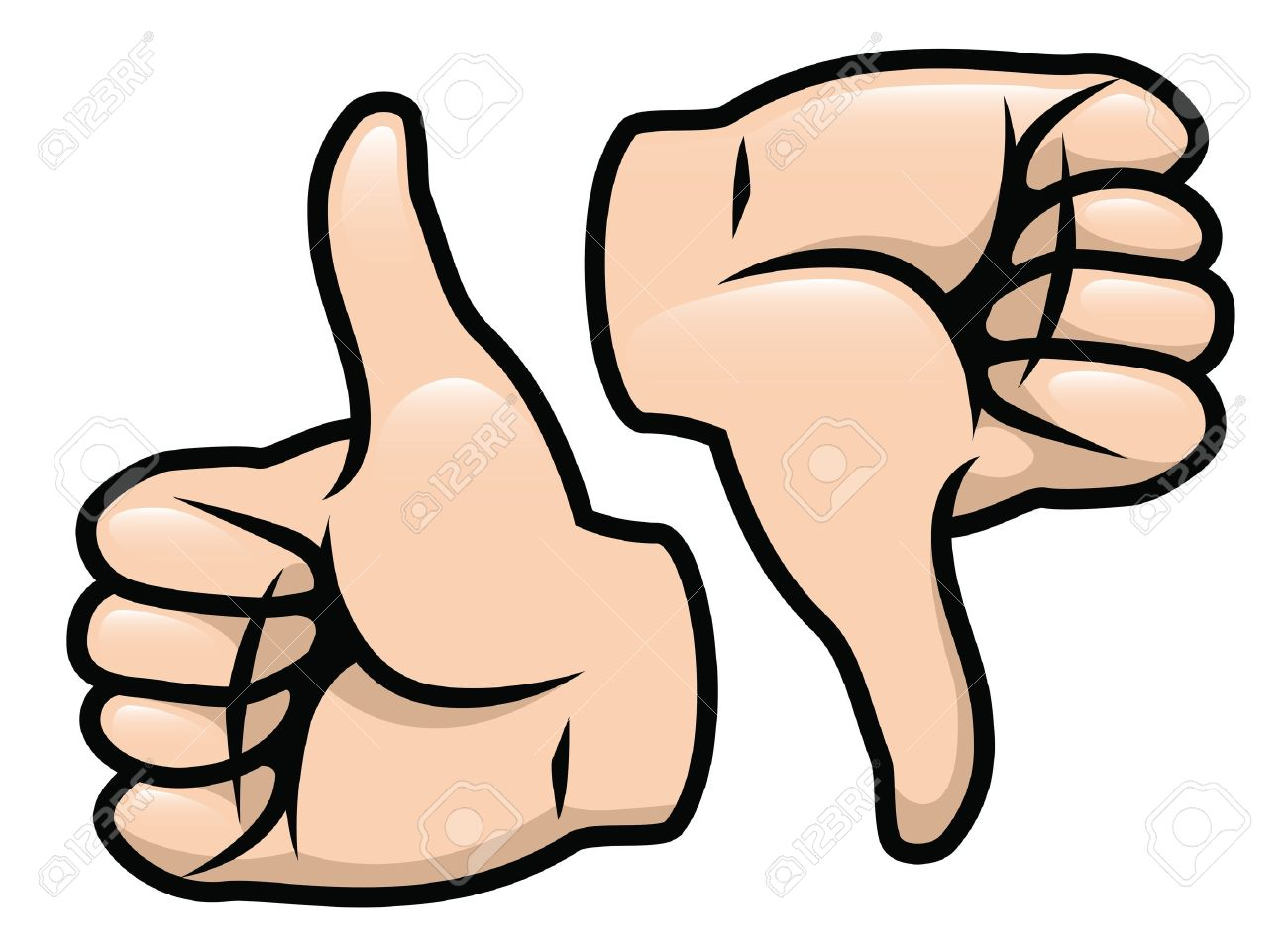 A cartoon vector drawing of a thumbs up and a thumbs down.