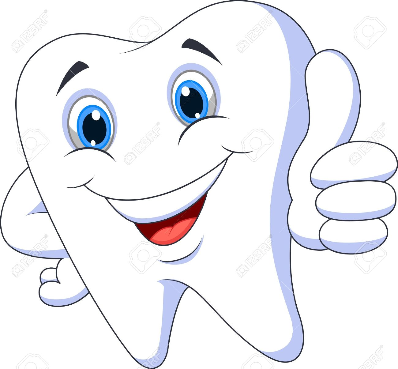Cute cartoon tooth with thumb up.