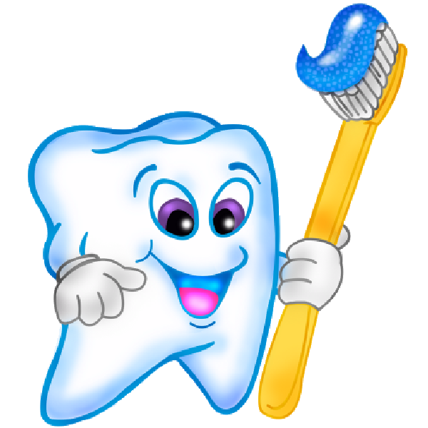 Brush teeth funny cartoon teeth with brush clipart.