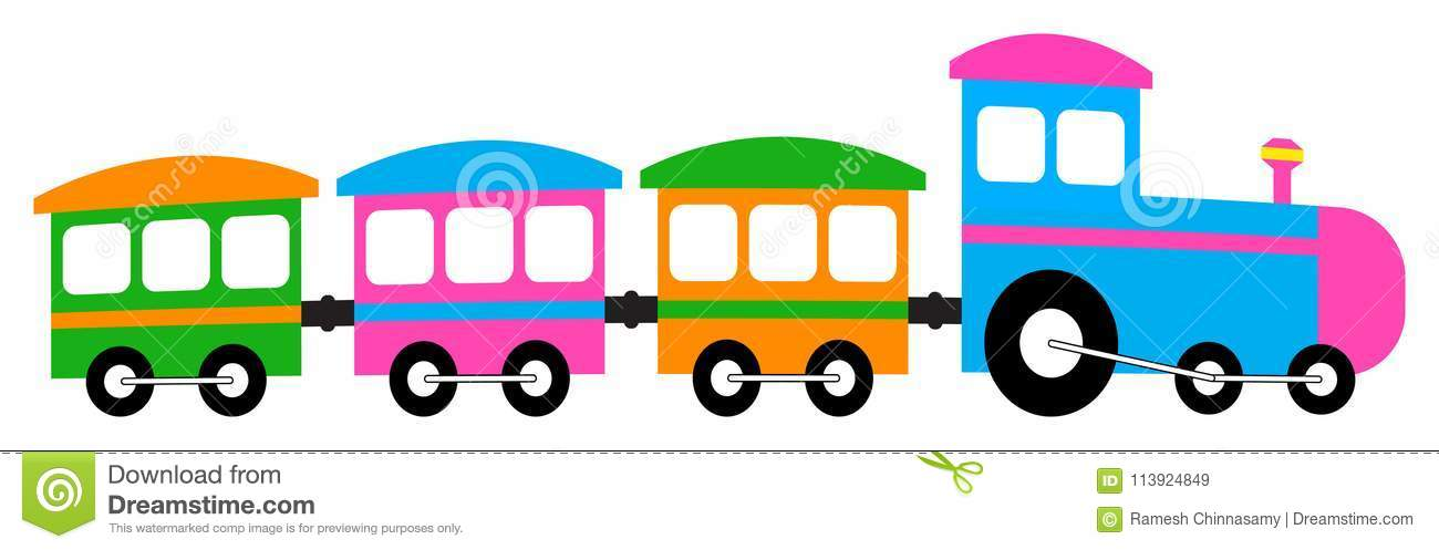 Cartoon Train Colorful Clip Art Stock Vector.