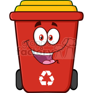 royalty free rf clipart illustration happy red recycle bin cartoon  character vector illustration isolated on white background . Royalty.