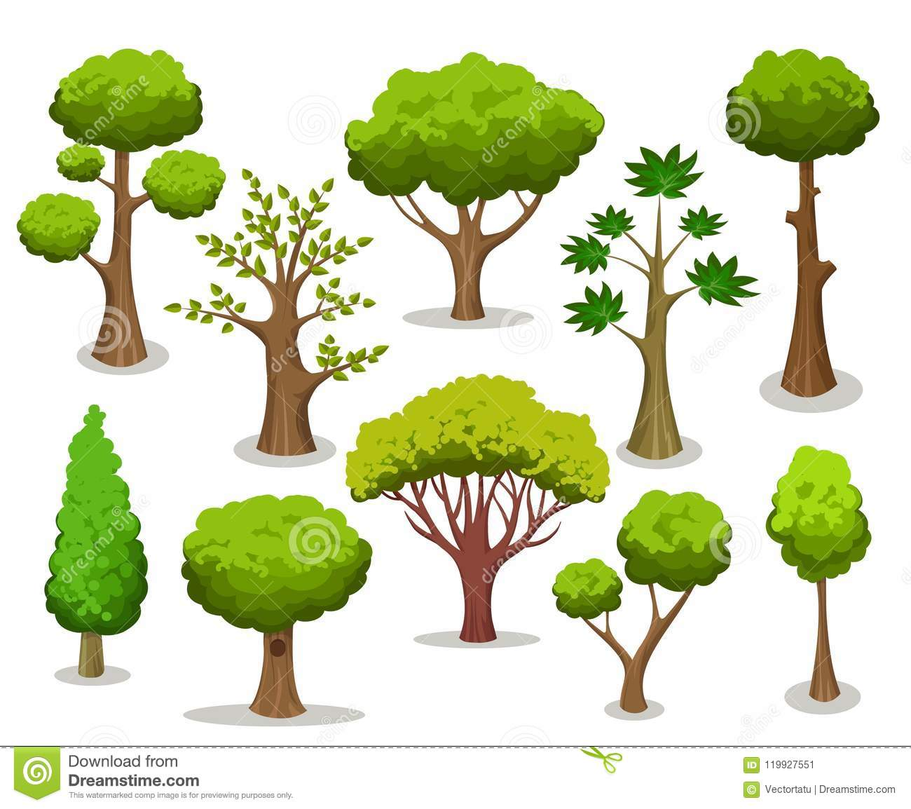 Cartoon tree collection stock vector. Illustration of garden.