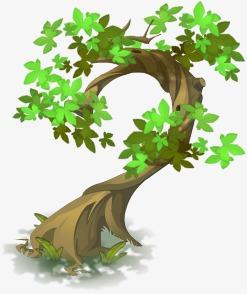 Trees Trees Background Material Element Cartoon Tree, Cartoon.