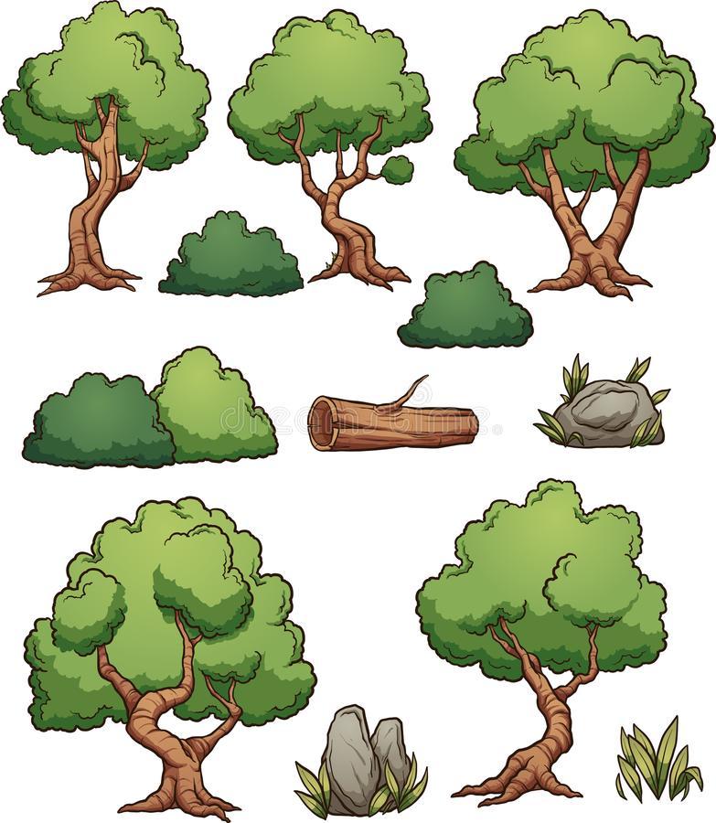 Cartoon Trees Stock Illustrations.